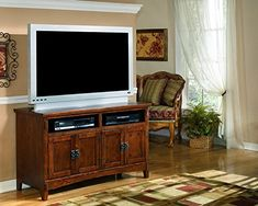 Kitchen Cabinets Ideas | Ashley Furniture Signature Design  Cross Island TV Stand  50in with 3 Cabinets and 2 Cubbies  Vintage Casual  Medium Brown * You can find more details by visiting the image link. Note:It is Affiliate Link to Amazon. #american