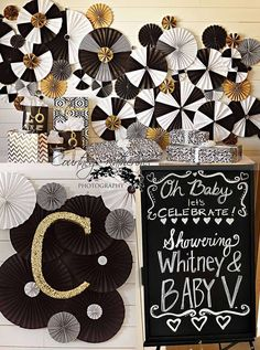 Glam black, white & gold baby shower party! See more party planning ideas at CatchMyParty.com!