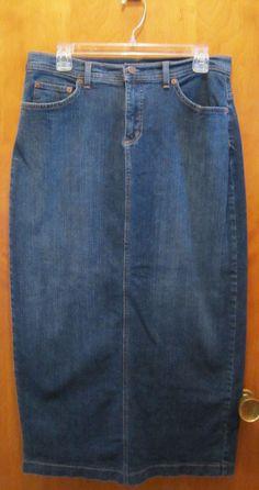 Denim & Co. Womens Size 10 Long Denim Jean Skirt Dark Wash Rear Slit QVC #DenimCo #StraightPencil