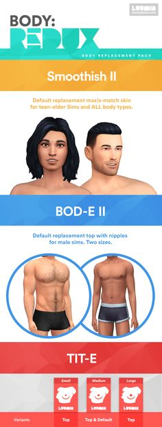 BODY REDUX - Body Replacement Pack: Smoothish II + BOD-E II + TIT-E  I Skin I by luumiasims via luumiasims.com com I Sims 4 I TS4 I Maxis Match I MM I CC - This is so perfect I made a JPG in one so that you guys can see what this set contains ;)! Awesome Set by Luumia!