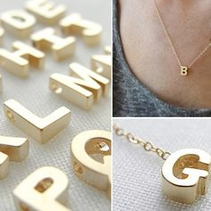 Tiny Gold Initial Necklace by Olive Yew
