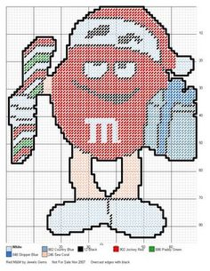 Plastic Canvas Christmas, Plastic Canvas Crafts, Plastic Canvas Patterns, Needlepoint Patterns, Embroidery Patterns, Cross Stitch Patterns, Cross Stitch Bookmarks, Cute Cross Stitch, M&m Characters