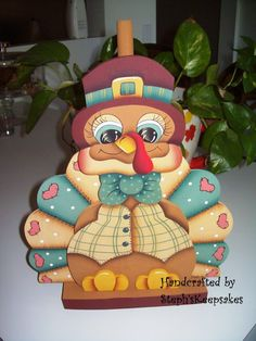 Hand Painted TURKEY Paper Towel Holder by stephskeepsakes on Etsy, $24.95