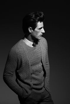 LOOK 4    CABLE KNIT CASHMERE CARDIGAN  CABLE KNIT CASHMERE SWEATER  PLAIN TWILL SHIRT  STRUCTURED TROUSERS