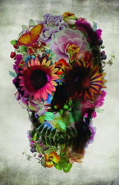Skull #2 Canvas Print - how awesome for a tattoo - I could include some Bryony!