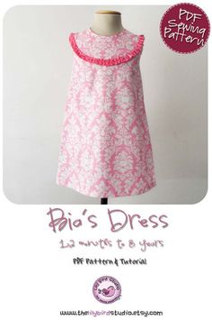 Bia's A line dress PDF sewign pattern for beginner to intermediate sewers, rounded yoke w/pleats, closes w/packet and buttons, 1 to 8 yrs. Skirt Patterns Sewing, Clothing Patterns, Dress Sewing, Kids Clothing, Girls Dresses, Summer Dresses, Girl Skirts, Bias Tape, Light Jacket