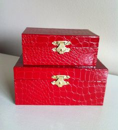 Red decorative boxes for makeup and such