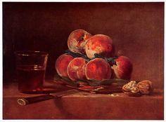 1951 Print Still Life Painting Basket Peaches Stone Table Jean Baptiste XAN4