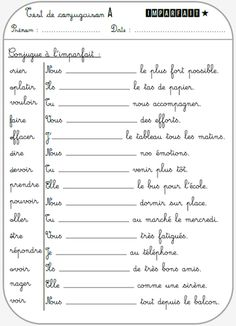 French Flashcards, French Worksheets, French Verbs, French Grammar, French Language Lessons, French Lessons, Teaching French, Cycle 3, Early Childhood Education