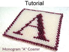 Peyote Beading Pattern – Monogram A Coasters | Simple Bead Patterns