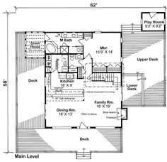 First Floor Plan of A-Frame   Cabin   Contemporary   make it a little smaller..especially the master bedroom