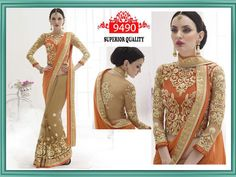 BOLLYWOOD DESIGNER 9490 ORANGE BISCUIT GEORGETTE BEAUTY SAREE