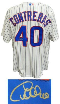 Willson Contreras Signed Chicago Cubs White Pinstripe Majestic Replica Jersey - PSA/DNA