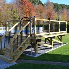 Deck railing isn't just a security attribute. It can add a spectacular aesthetic to frame a decked location or deck. These 36 deck railing ideas show you just how it's done! Above Ground Pool Landscaping, Above Ground Pool Decks, In Ground Pools, Backyard Landscaping, Backyard Patio, Pergola Designs, Pool Designs, Patio Design, Pergola Ideas