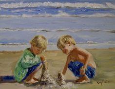 Sand+Castles+little+boys+on+the+beach,+painting+by+artist+Kay+Crain