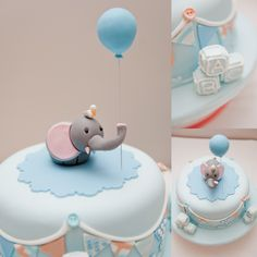 Baby shower cake with elephant and balloon topper with bunting around the cake