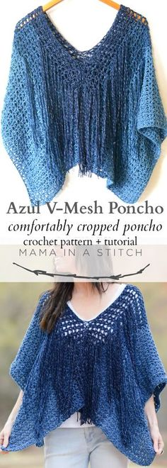 Azul V-Mesh Easy Crochet Poncho Pattern via @MamaInAStitch This free crochet pattern is so easy and is great for summer and spring! #diy #crafts