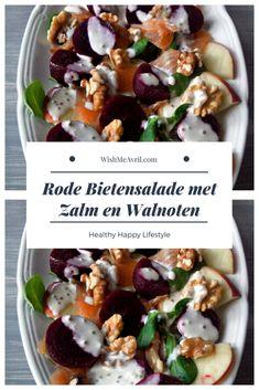 Rode bietensalade met zalm en walnoten Diet Recipes, Healthy Recipes, Potato Salad, Meal Prep, Salads, Food And Drink, Lunch, Snacks, Ethnic Recipes