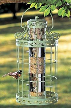 Collections Etc Springtime Hanging Bird Feeder, Vintage French Country-Inspired Green Design, 7 L x 7 W x 16 H, Green Caged Bird Feeders, Squirrel Proof Bird Feeders, Bird Seed Feeders, Wild Bird Feeders, Hanging Bird Feeders, Finch Feeders, Steel Cage, Collections Etc, Metal Birds