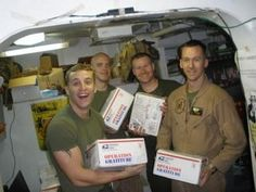 Volunteering and supporting our troops. Since she retired she has dedicated herself weekly to packing boxes for the troops.