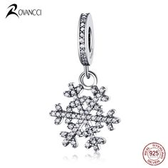 Authentic 925 Sterling Silver Bead Fashion Snow Crystal Pendants Beads Fit Original Pandora Charms Bracelet & Bangle Jewelry #Affiliate