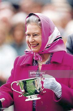 The Queen Presenting Prizes At Queen's Cup Polo, Windsor. She Is Holding A Cup…