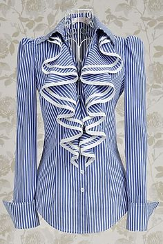Blue & White Striped Shirt/Blouse with Big Front Frill edged in White . Modest Outfits, Modest Fashion, Fashion Dresses, Cute Outfits, Apostolic Fashion, Skirt Outfits, Summer Outfits, French Cuff Shirts, Striped Long Sleeve Shirt