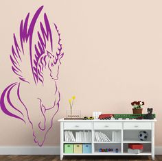 Beautiful Unicorn Wall Sticker. Give your decors a powerful and fashionable touch with the beautiful image of this whimsical unicorn. This amazing wall design perfectly accents the modernized decals of your living rooms and bedrooms. http://walliv.com/beautiful-unicorn-wall-sticker-wall-art-decal