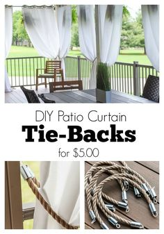 DIY Patio Curtain Tie-Backs tutorial! It only cost $5 a piece to make them like this! Rope, nautical, couplings, electrical tape, line, and done! Patio Diy, Backyard Patio, Outdoor Curtains For Patio, Outdoor Curtain Rods, Pipe Curtain Rods, Outdoor Patios, Wood Patio, Outdoor Rooms, Outdoor Kitchen Design