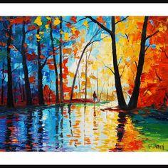 Oriiginal peinture à l'huile couteau arbres par GerckenGallery