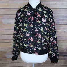 Black hummingbird bomber jacket Brand: Ark&CO Size: M New  Black  Humming bird print  Ribbed collar  Front zipper closure  Fully lined Pockets with zipper  100% polyester  No Trade Jackets & Coats