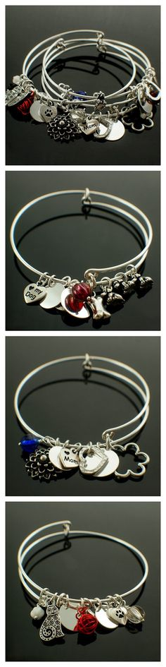 Snag-Less Charmed Bangle Kit - I Love Mom, I Love My Cat, I Love My Dog - SALE