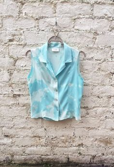 Short Sleeve Blouse Tie Dye Pastel Blue UK size 10 US size 6 Petite