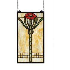 11 Inch W X 20 Inch H Parker Poppy Stained Glass Window