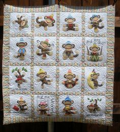 This is, hands down, the cutest Baby Quilt EVER, and I would love to get my hands on the pattern!!  JUMPING MONKEY QUILT - Made by Sharon Morris - quilted by DLQ by DLQuilts, via Flickr