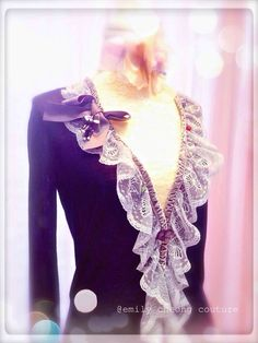 Fairytale Collection - black cardigan spring top  leather designer couture  lace frenchlace chic classy fashion womenswear ladieswear vintage high-fashion fashion https://www.facebook.com/emilycheongcouture