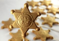"""The Sheriff's in Town"" Metallic Gold Sheriff Badge Chocolate Lollipops"
