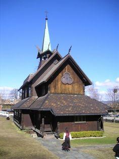 Vår Frue Catholic Church wooden in Porsgrunn, Norway.