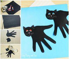 Handprint Black Cat Craft - Easy Peasy and Fun Crafts Fir Kids, Quick Halloween Crafts, Fun Easy Crafts, Halloween Activities For Kids, Cat Crafts, Halloween Cat, Preschool Activities, C Is For Cat, Cat Fountain