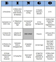 Restaurant Bingo - Free Printable. Fun activity for the kids to play while at a restaurant. #KidsActivities #Free Printables