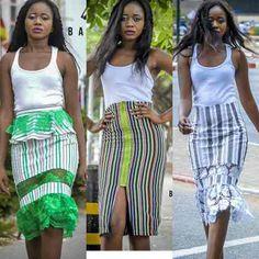 different skirt styles made with batakari Skirt Fashion, Fashion Dresses, Ghanaian Fashion, African Print Dresses, Ankara Dress, Culottes, Amai, Africa Fashion, African Fabric