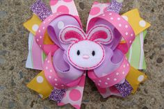 Easter Hair Bow Easter Bunny Hair Bow Boutique Easter by innavert, $10.00