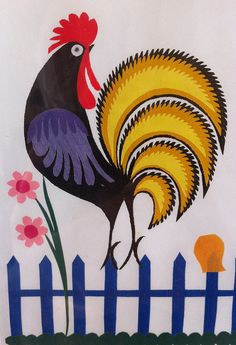 Polish folk art - possible applique Chicken Painting, Chicken Art, Tole Painting, Fabric Painting, Polish Folk Art, Rooster Art, Art Anime, Chickens And Roosters, Naive Art