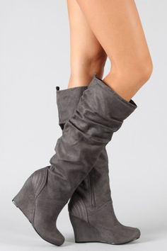 gray faux suede boots $28.20