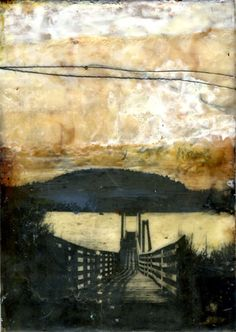 Bridgette Guerzon Mills   Lead Me to the Water  encaustic mixed media  5x7 inches