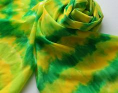SALE Hand Painted Silk Scarf - Handpainted Scarves Lemon Lime Green Chartruese Kelly Yellow Grass Sun Citrus Bright Garden