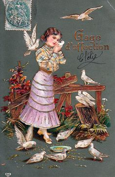 Antique french embossed postcard .Teenaged by ParisBookandPaper, $12.00