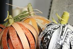 Fall pumpkins; also use Christmas paper for tree ornaments or string together for garland.