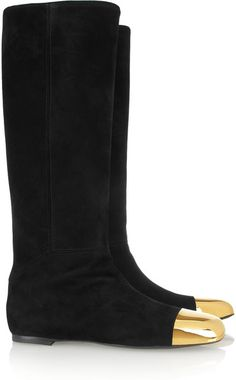 YVES SAINT LAURENT Rita Flat Suede and Metal Boots - Lyst
