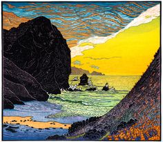 Tennessee Cove, Marin Headlands 11.5 x 13 inches Spring sunset pours its golden light into Tennessee Cove on the Marin Headlands. Nine-color multi-block reduction cut w/ pressure printed overlays on sky. Copyright ©2014 Tom Killion.